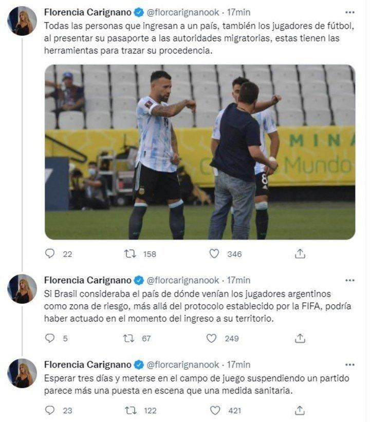 Florencia Carignano habló sobre el escándalo en el partido Brasil-Argentina por las Eliminatorias.
