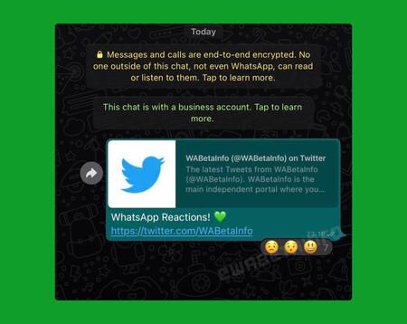 Reacciones Whatsapp Beta