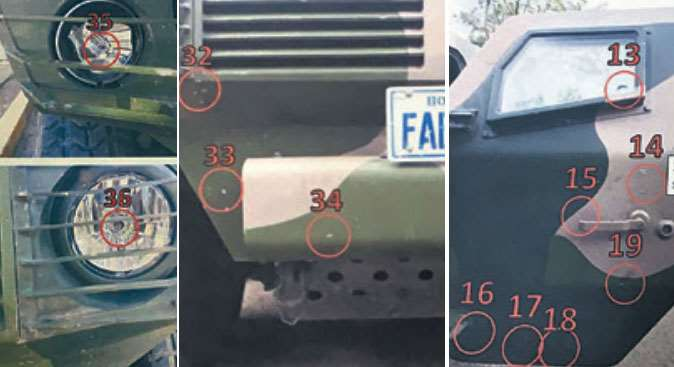 Fotos de vehículos mecanizados de las FFAA que recibieron balazos en la crisis hace 2 años