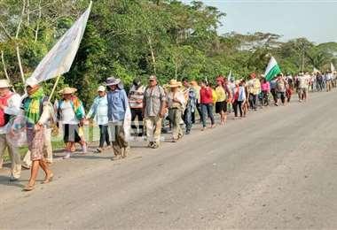 La marcha avanza hacia la capital cruceña / Fotos: Rodolfo Orellana