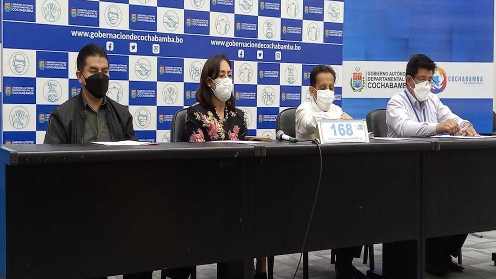 Conferencia de prensa del reporte epidemiológico. Foto: GADC.