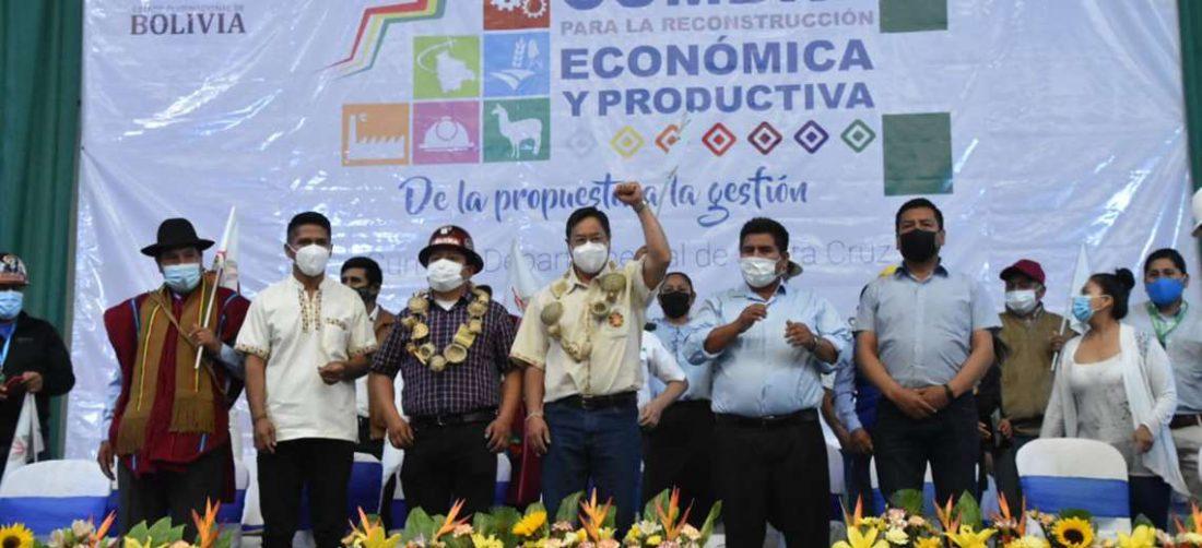Luis Arce lideró el acto en Santa Cruz / Foto: ABI