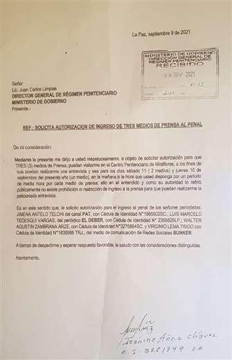 La carta enviada por Áñez.