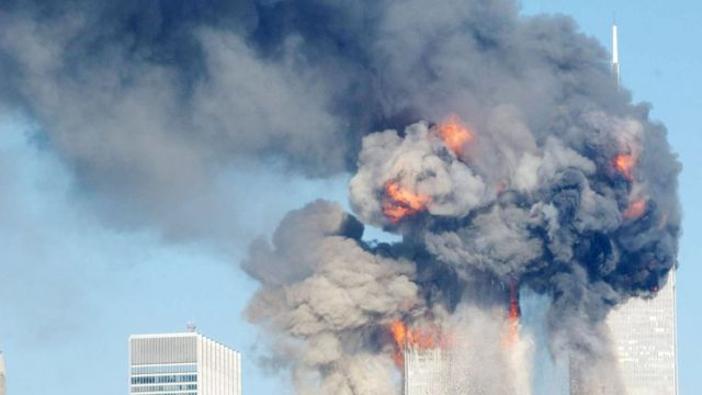 Torres Gemelas en llamas el 11 de setiembre de 2001.