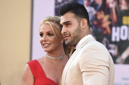 Britney Spears y Sam Asghari en un estreno de cine en Los Ángeles, California, en julio de 2019.