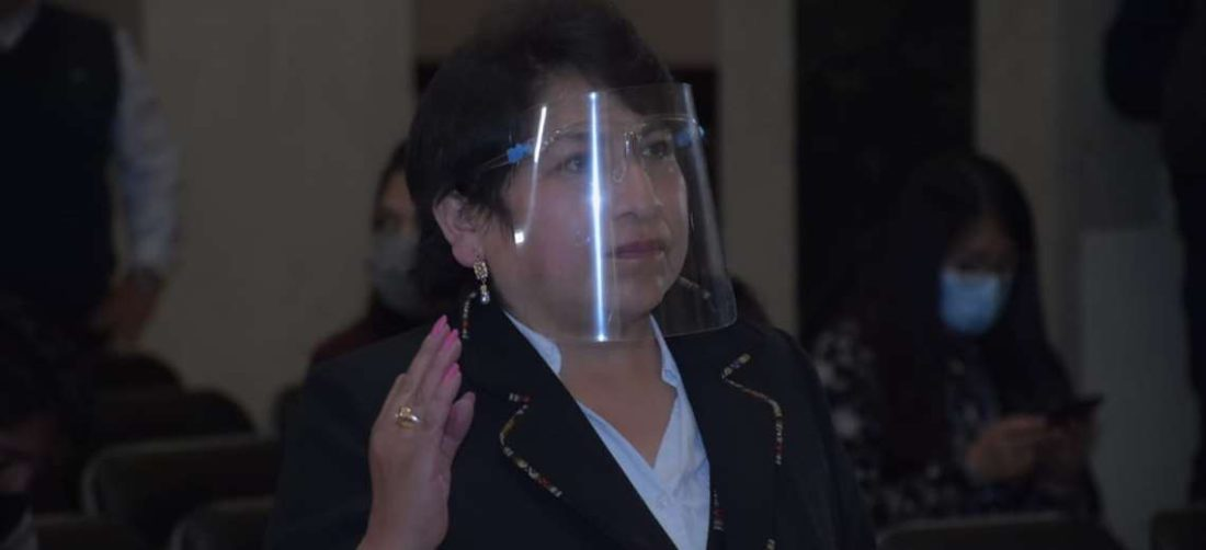 Dina Chuquimia jurando al cargo en la Vicepresidencia