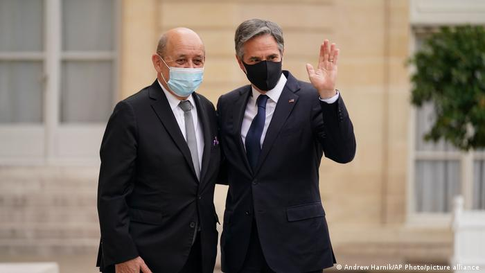 Frankreich Außenminister Jean-Yves Le Drian empfängt US-Außenminister Antony Blinken
