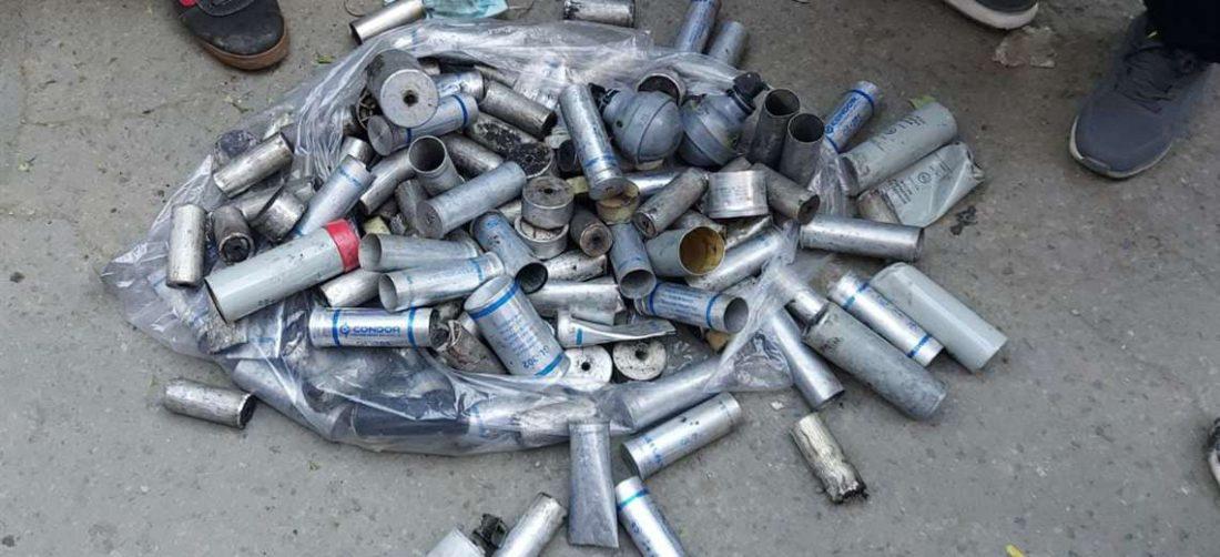 Los campesinos lograron recolectar algo de la cantidad de gases que usó la Policía