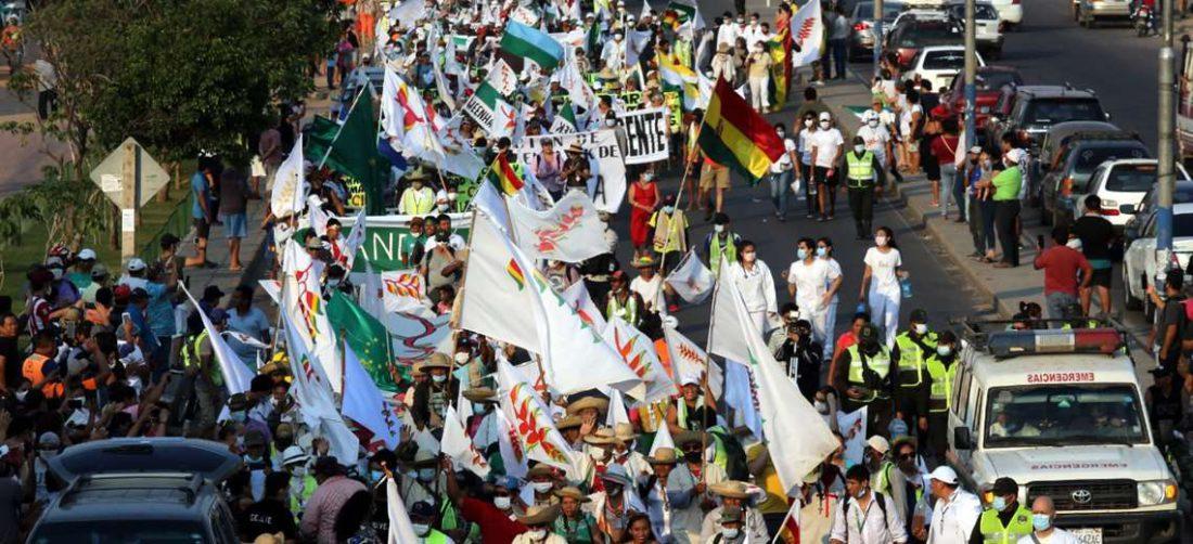 La marcha indígena llegó el 30 de septiembre a la capital cruceña /Foto: Jorge Ibáñez