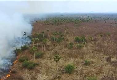 Puerto Suárez es uno los municipios afectados por los incendios