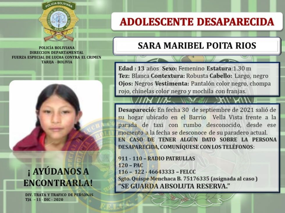 Escalan las denuncias de desaparición  de adolescentes y jóvenes en Tarija