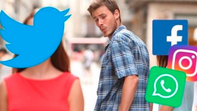 Meme de la caída mundial de WhatsApp, Facebook e Instagram.