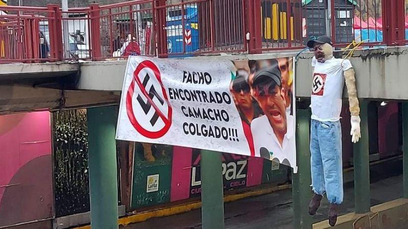 «Facho encontrado, Camacho colgado»: La Paz amanece con muñecos colgados y amenazas
