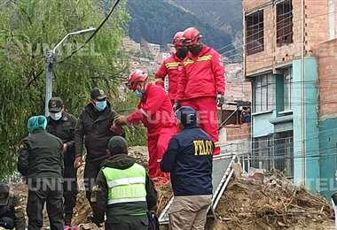 Derrumbe de un muro de contención en La Paz
